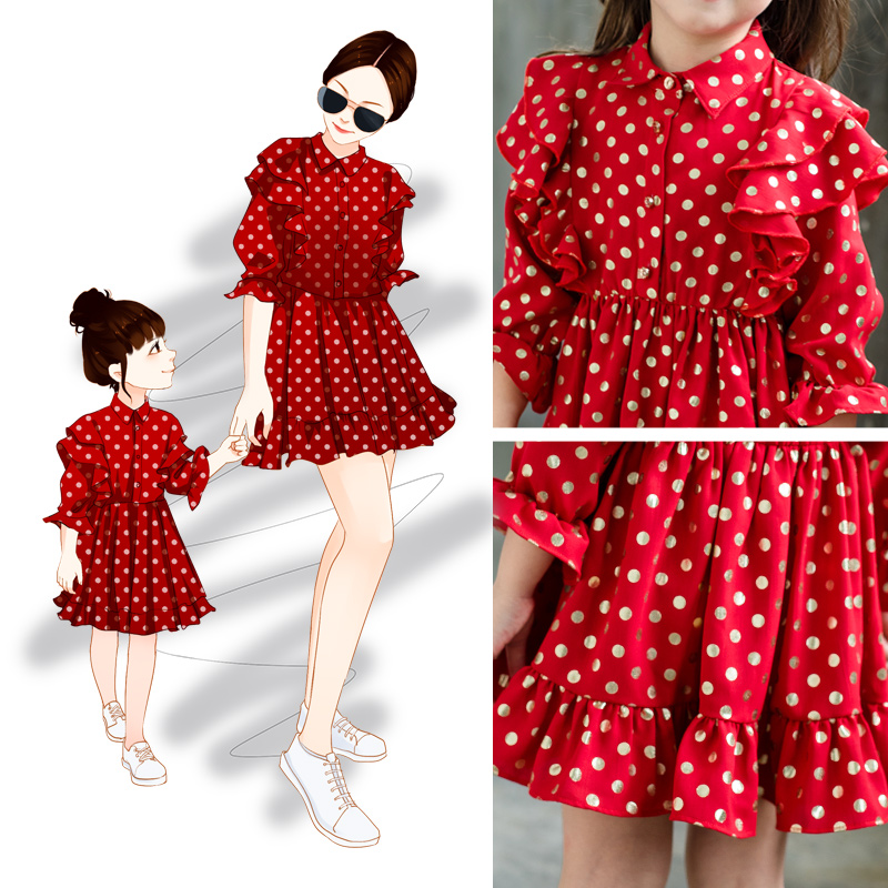 Fashion spring and autumen long sleeve polka dots dress elegant mother daughter dress for partyFashion spring and autumen long sleeve polka dots dress elegant mother daughter dress for party