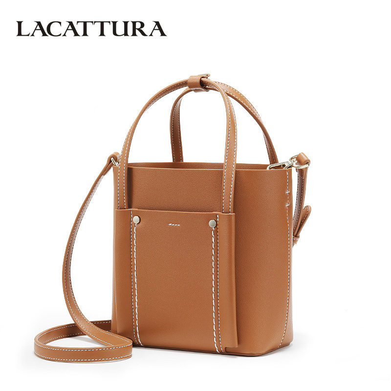 LACATTURA NEW Women Shoulder Bucket Bags Designer Women Composite Handbag Small Luxury Tote Bag Crossbody for Lady Fashion Purse lydian fashion small bucket bags 2018 new handbag women messenger bag shoulder bag rivet vintage brown purse tote bolsa pequena