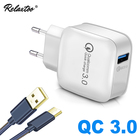 USB Fast Charging Smart Phone Charger Travel Wall Plug Charger Quick Charge 3.0 Adaptive for iPhone Samsung Xiaomi 1m usb cable