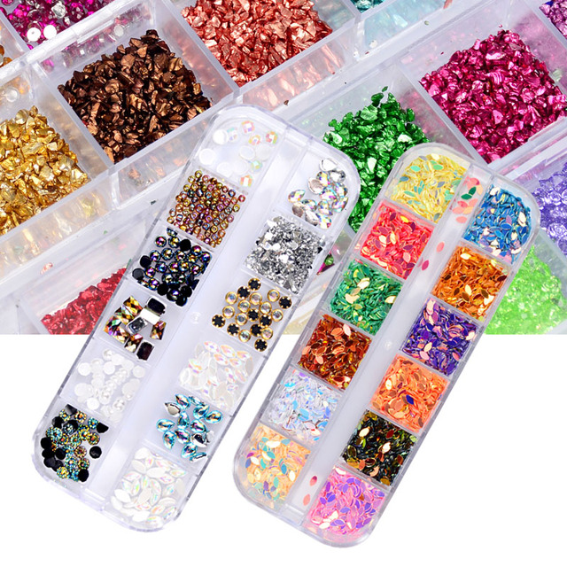 12 Color Box Crystal Colorful Jelly Rhinestones 3D Nail Art Decor Glitter  Gems Stones Manicure DIY Set 641cc8092d49