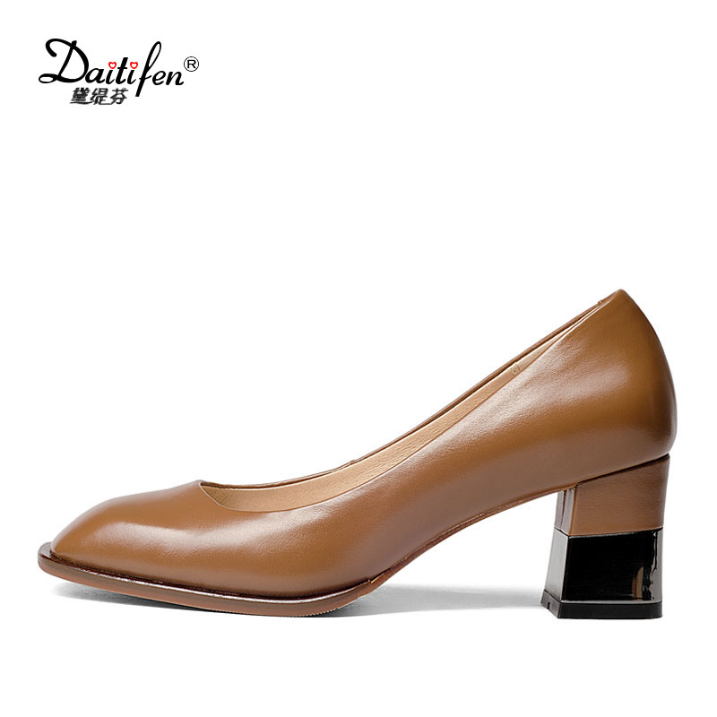 Daitifen 2018 Natural Leather black Brown Pumps Round Toe Thick Heel 6 cm Square Heels Genuine Leather Elegant Office Shoes