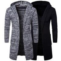 Nieuwe merk Top Mode Heren Grijs Zwart Capuchon Vest Lange Jassen Mannelijke Punk Gothic stijl Losse jas winter wit geul