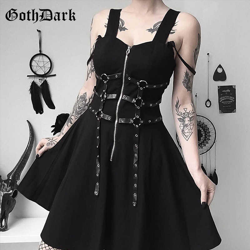 Gothic women's dress eyelet web zipper harajuku black mini dresses grunge Summer 2019 sleeveless backless a-line sexy punk rock