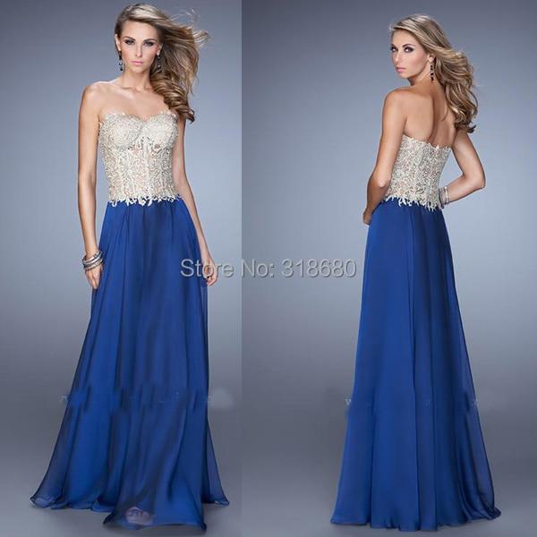 Hot Sale Sweetheart Nudu Lace Appliqued Top Navy Blue Women Dress Evening Long Elegant Dress With