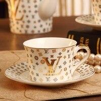 Top Grade Nordic Bone China Ceramic Coffee Cup and saucer Set Porcelain Mug Letter Gold L AND V Mark Design Gilded Coffee Sets
