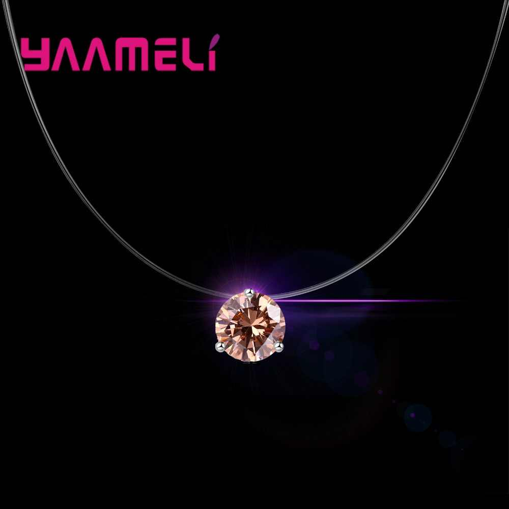 Big Promotion Various Colors Round Cubic Zirconia Clear Crystal Real 925 Sterling Silver Pendant Necklace For Women