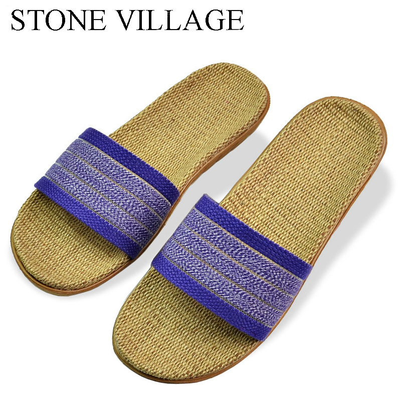 STONE VILLAGE Home Slippers Female Linen Slippers Summer Home Couple Floor Slippers Women Summer Sandals Size EU35-44 ST521 2018 natural tropical royal cane couple home slippers rattan straw weave female slippers bamboo rattan summer slippers