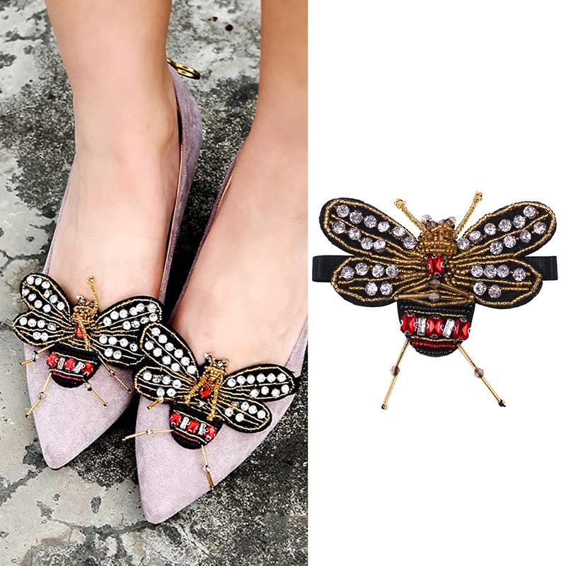 High Quality 1 Pair Rhinestone Bee Crystal For High Heels Shoes Manual DIY Shoe Decorations Wedding Party Shoes Accessories