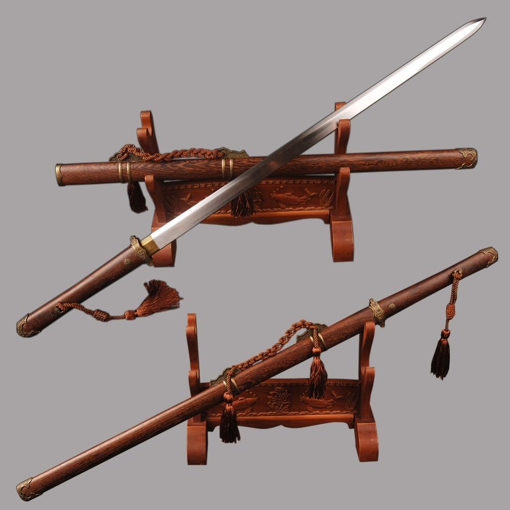 Entièrement fait à la main lame droite épée chinoise Tang dynastie épée en acier à haute teneur en carbone Double lame bord couteau chinois général Cosplay