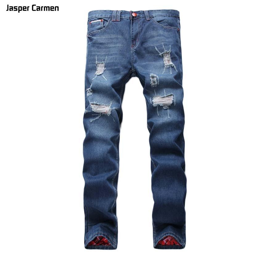 2017 Fashion Stretch Slim Fit Blue Hole Jeans Ripped Denim Jeans Men Pants Hot Sale NEW Brand Men's  Jeans Elastic 30z 2017 fashion patch jeans men slim skinny stretch jeans ripped denim blue pants new famous brand mens elastic jeans f701