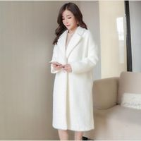 2018 Autumn and Winter New Thicken white Wool Coat Women's Long Suit Suit Collar Woolen Coat Slim Woolen Cardigan Coat