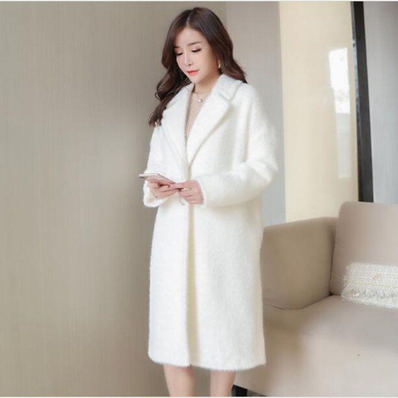 2018 Autumn And Winter New Thicken White Wool Coat Women's Long Suit Suit Collar Woolen Coat Slim Woolen Cardigan Coat