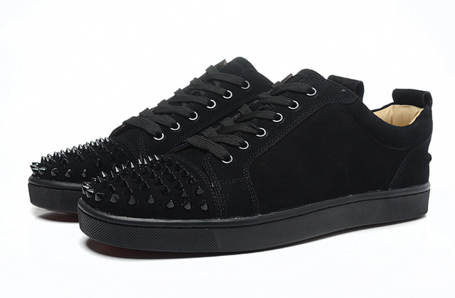 dc8adbf6f5710 Men Women Black Suede Red Bottom Shoes 2016 Designer Low Top Fashion Spikes  Flat Party Casual Shoes For Sale Size36~46