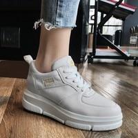 Women Shoes 2019 Fashion Women Sneakers Genuine Leather Wedges Platform Women Vulcanize Shoes Casual tenis feminino