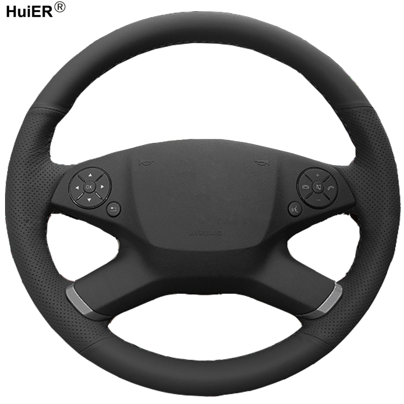 HuiER Hand Sewing Car Steering Wheel Cover Microfiber For Mercedes Benz E300L 2010-2013 E-Class W212 E 200 260 300 2009-2013