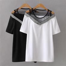 Plus size Patchwork Off the Shoulder women t shirt 2021 white & black t-shirt women short Sleeve tops tshirt summer tee shirt