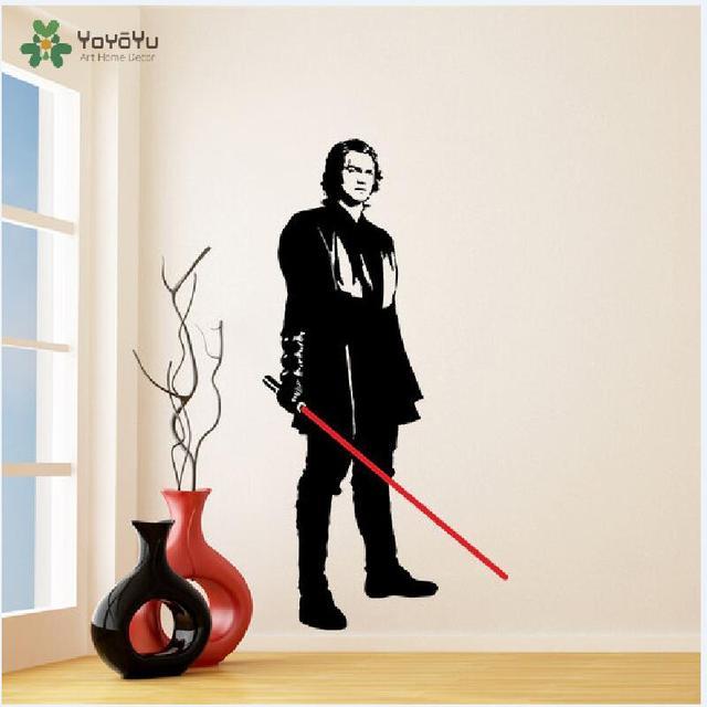 Autocollant Mural en vinyle | Étiquette décorative, Star Wars Anakin Skywalker, découpé avec sabre laser, jeune Darth Vader, Art, amovible, affiche murale