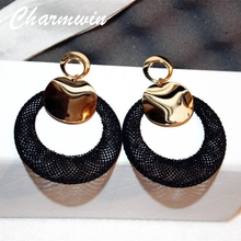 Charmwim Exaggerated Large Black Circle Dangle Earrings For Women Jewelry Fashion Gold Color Big Earrings PE1356