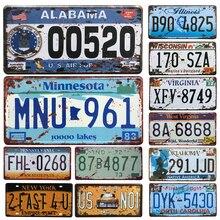 Горячая США автомобиль номерной знак металлический номер автомобиля жестяные знаки бар паб кафе Декор металлический гаражный знак живопись табличка наклейка