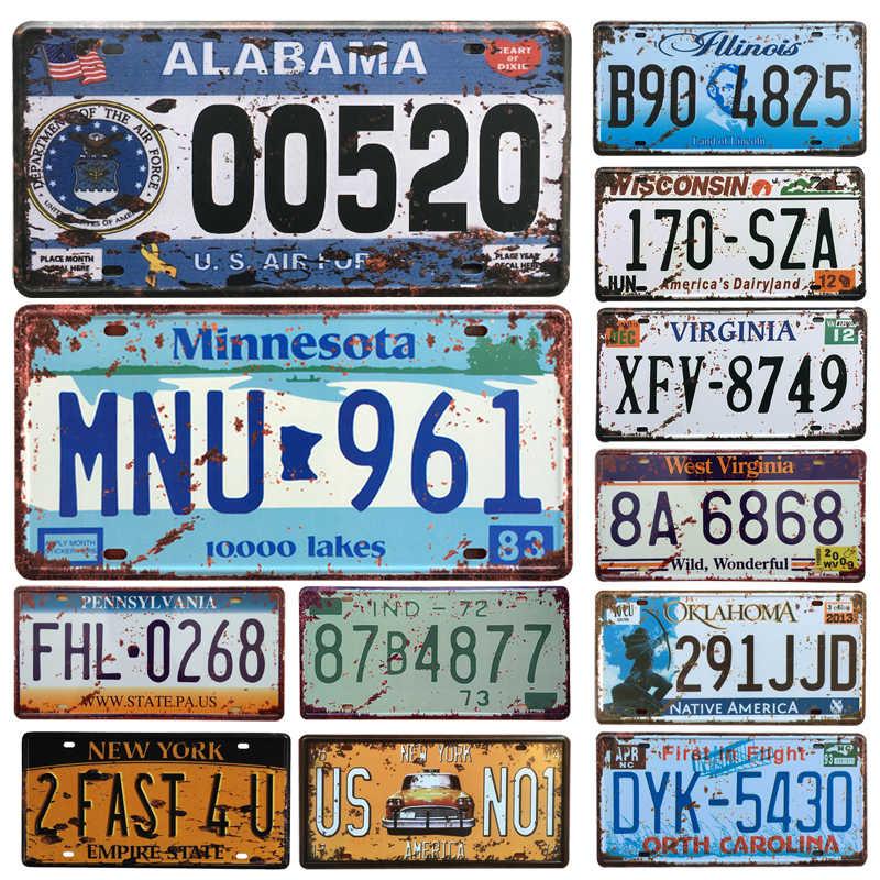 حار الولايات المتحدة سيارة رخصة لوحة معدنية رقم السيارة القصدير علامات بار حانة مقهى ديكور المعادن تسجيل المرآب اللوحة اللوحة ملصق