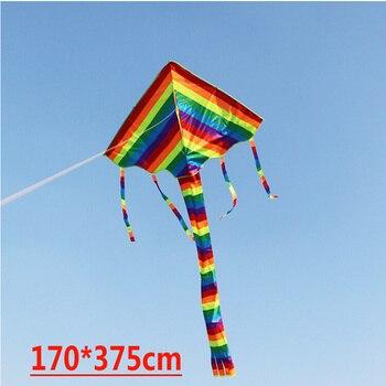 Free shipping hot sell 3.7m rainbow delta kite 10 pcs/lot child cheap kite flying toys nylon ripstop kite with handle  wei kite 1pcs lot flm0910 25f flm0910 flm good qualtity hot sell free shipping buy it direct