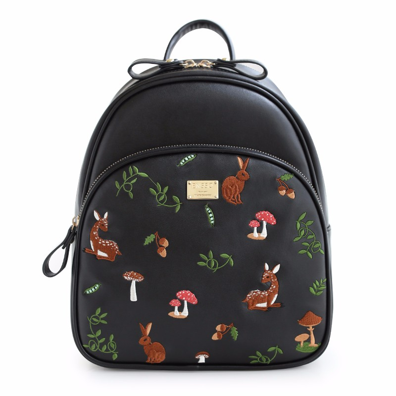 2016 New Floral Animal Prints Deer Plants Girl\'s Black Zipper Bags PU Leather Embroidery Women\'s Shoulder Bags  Bucket Book Bag