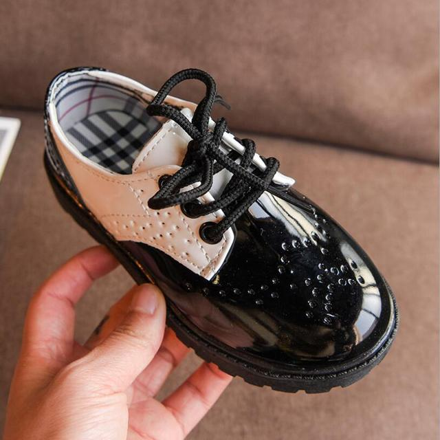 Boys School Leather Shoes Kids Classic Wedding Girls Party Student Show Shoes Children Oxford Dress Banquet Shoes White Black
