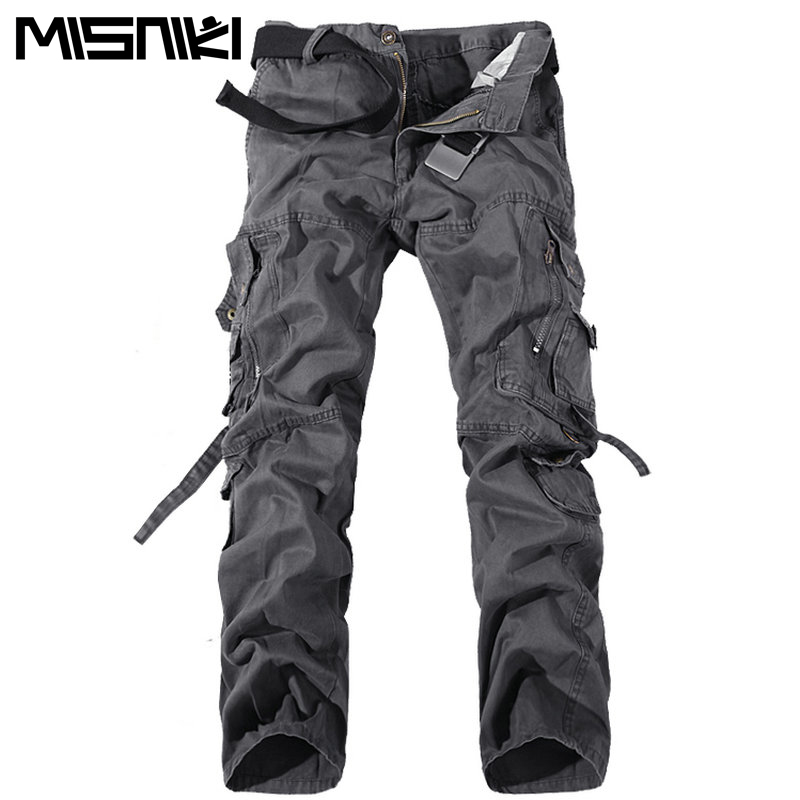 MISNIKI 2017 New Army Military Camouflage Overalls Bags Pants Overalls Big Yards Men Camo Combat Work