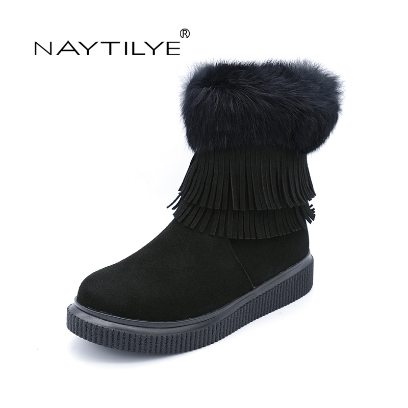 NAYTILYT New 2017 PU eco leather shoes woman ankle warm winter boots women zip round toe nature wool black brown size 36-40 fun ville new fashion woman snow boots black gray brown real fur wool ankle boots warm winter shoes for women size 34 42