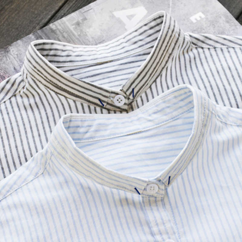 2019 Summer Spring Women Striped White Shirts Loose All-match Office Lady Work Blouse 100% Cotton Top Quality 0.17Kg