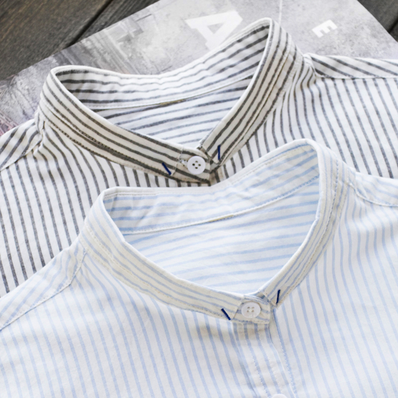 Лето-Весна Женские полосатые белые рубашки свободные универсальная офисная блузка 100% хлопок наивысшего качества 0,17 кг