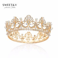 SWEETV Jeweled Queen Tiara With Pearl Crystal Bridal Hair Accessories Gold Round Crown For Festival Party