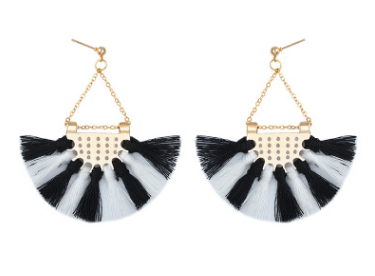 Этнический стиль Модные веерообразные серьги с кисточками в богемном стиле серьги ювелирные изделия - Цвет: Black White