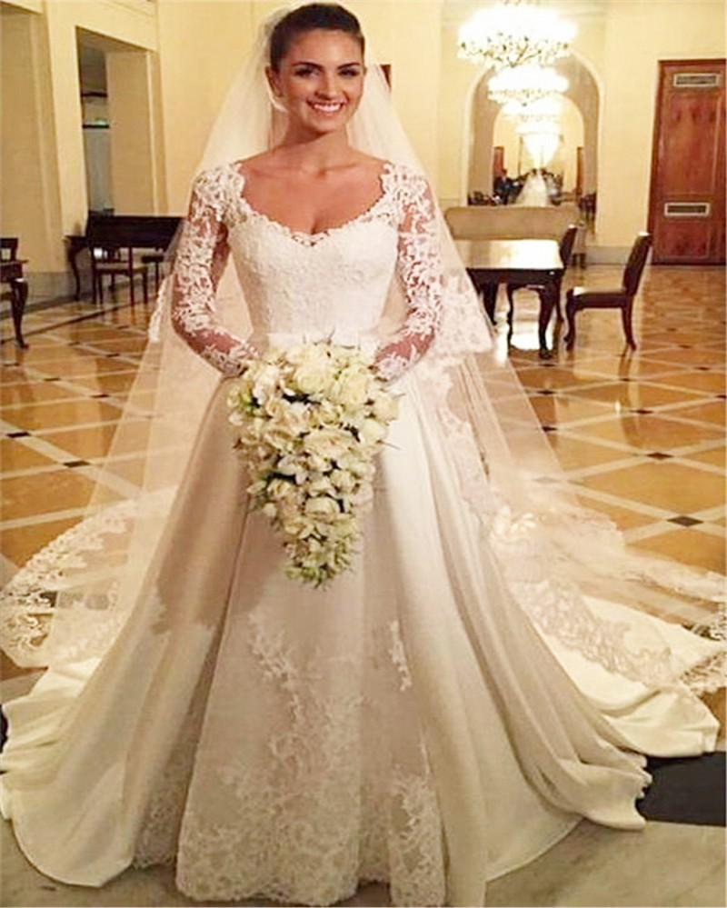 Vintage A Line Lace Long Sleeve Wedding Dress 2017 Elegant