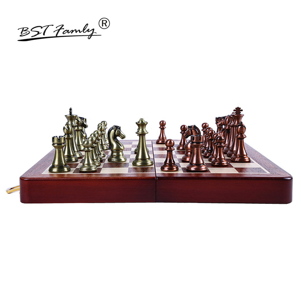BSTFAMLY Kirsite Metal Chess Set Portable Game of Iternational Chess Wooden Folding Chessboard King Height 67mm Chess Game I8