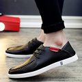 Zapatos para hombre marca de lujo ocasional de la pu de cuero blanco/negro sólido básico pisos skate para hombre entrenadores Hombres zapatos del deporte lace up