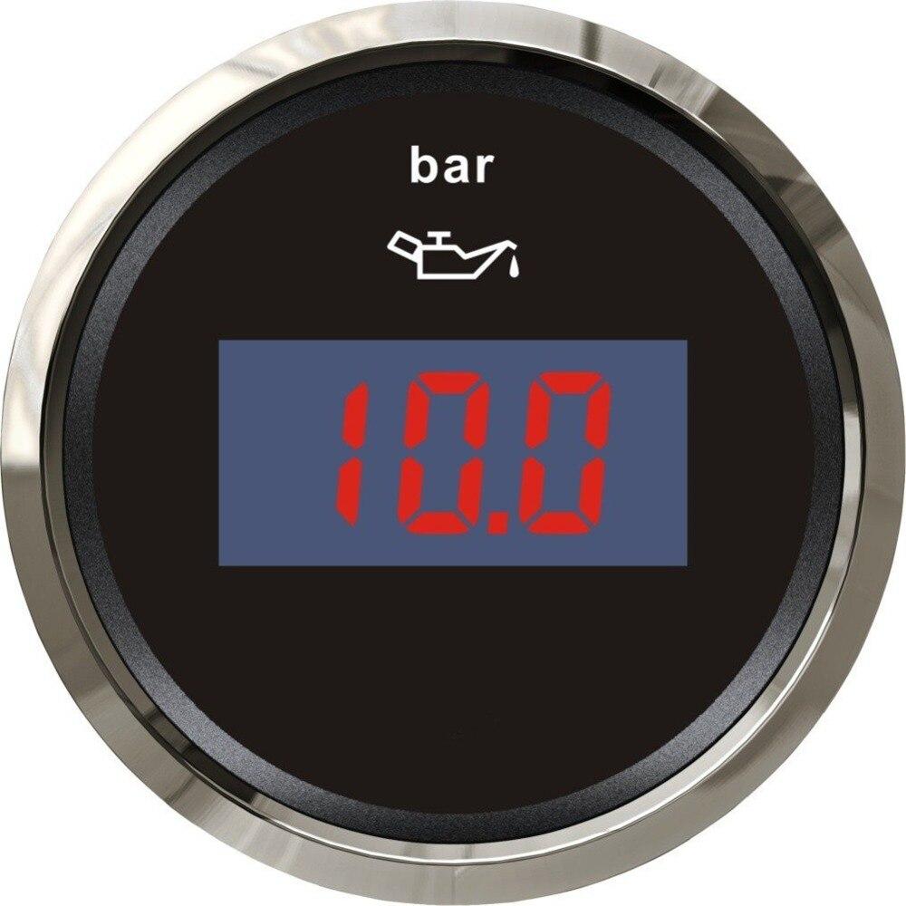 Adroit 1pc Digital Oil Pressure Gauge Fuel Pressure Meter 12v 24v For Boat Automobile Motor Homes Universal Yacht Parts Black Color Oil Pressure Gauges
