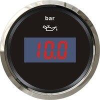 1Pc Digital Oil Pressure Gauge Fuel Pressure Meter 12V 24V for Boat Automobile Motor Homes Universal Yacht Parts Black Color