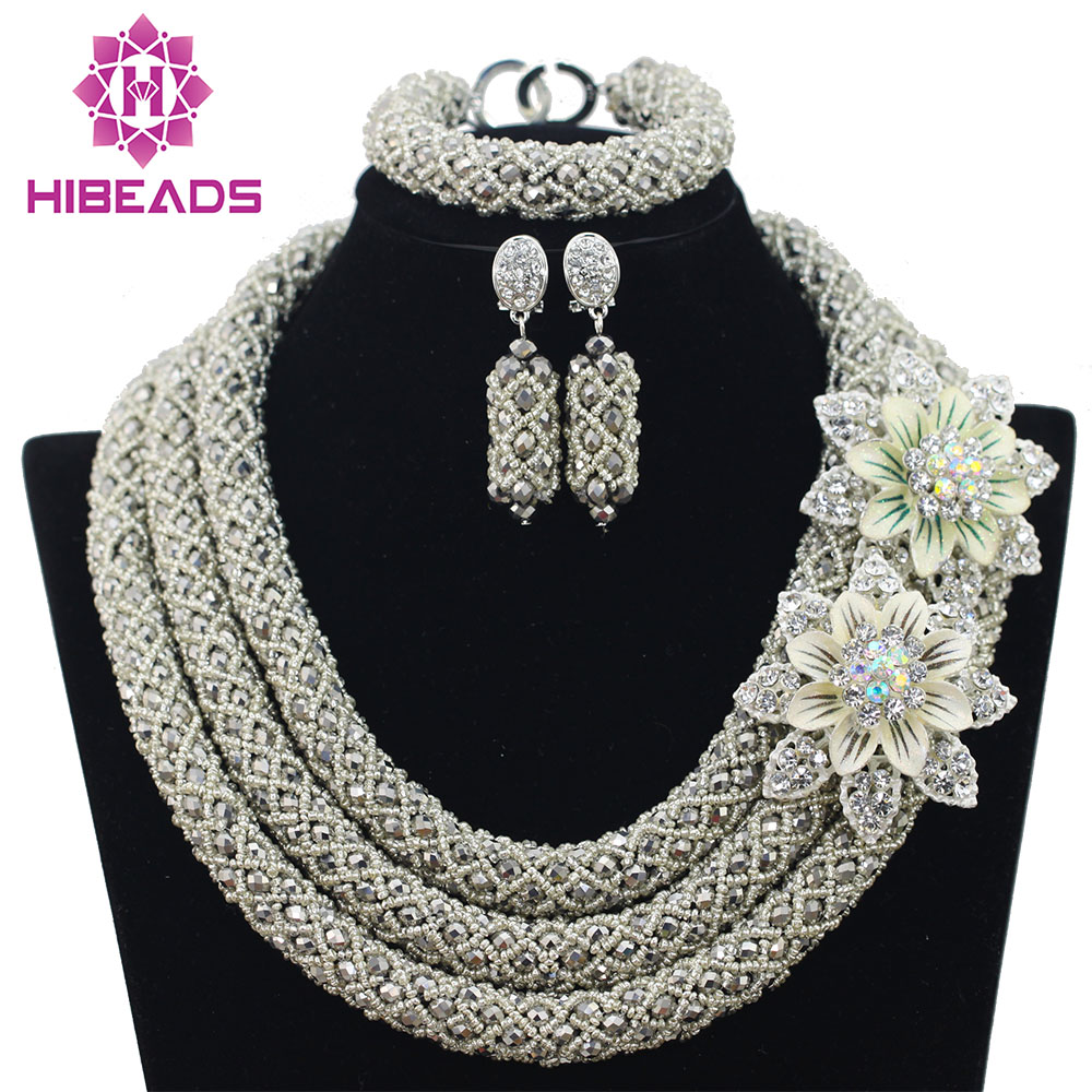 Big Full Handmade Braid Beads African Jewlery Set Silver Nigerian Beads Necklace Bridal Lace Jewelry Sets Free Shipping ABF359
