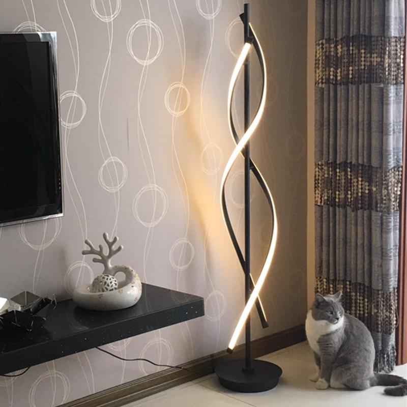 Lampadaire minimaliste pour salon chambre lampe spirale chambre bureau noir blanc lampe de salon Led lampes sur pied luminaires