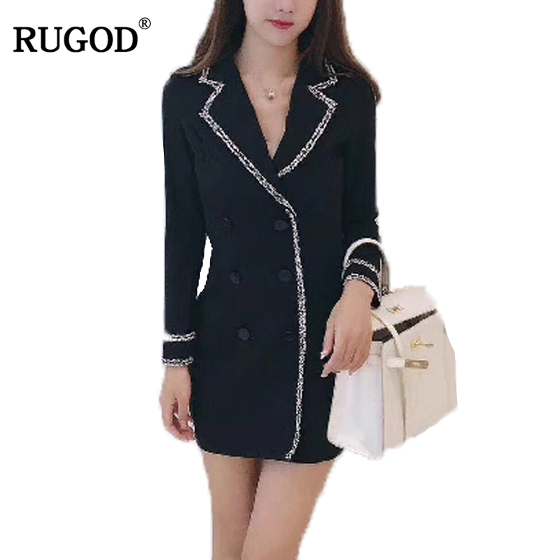 RUGOD 2018 New Arrival Spring Summer Elegant Sheath Women Dress Bodycon Knitted Female Dress Sexy V neck Femme Robe