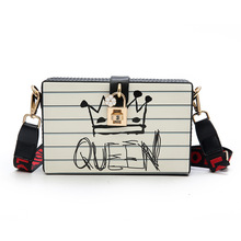2018 Spring Summer Women Messenger Bag Box Bag with Lock Queen Print Love Wide Ribbon Strap Cute Designer Girl Crossbody Bag