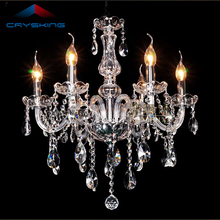 6 Arms Home Crystal Chandelier Modern Lustres de Cristal Living Room Indoor Lamp Decoration