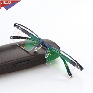 Image 2 - Titanium Alloy Smart Zoom Asymptotically Progressive Reading Glasses Half Rim Commercial Presbyopia Hyperopia Multifocal Glasses