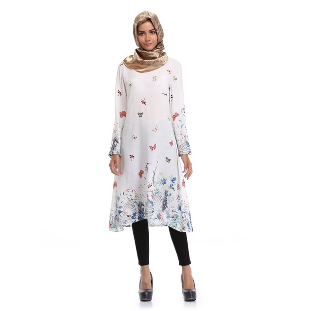6e043b6157 White Floral Print Mid Length Dress Traditional Muslim Abayas Round Neck  Long Sleeve Long Style Robe