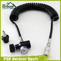 Paintball PCP Coil Remote Hose Line w/Quick Disconnect and 1500/3000psi Mini Gauge 3.5m(extend length)