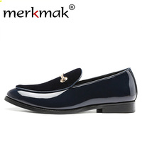 Merkmak Glossy Suede Men's Loafers Shoes Slip On Trend Metal Leather Shoes Male Comfortable Casual Dress Shoe Big Size 48 Flat