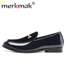 Merkmak Luxury Men Glossy Loafers Suede Shoes New Trend Metal Design Fashion British Style Male Casual Shoe Larger Size 48 13.5