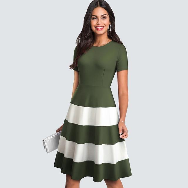 Women Summer Casual Patchwork Party Dress Vintage Stripe Brief Wave  A-line Dress 2