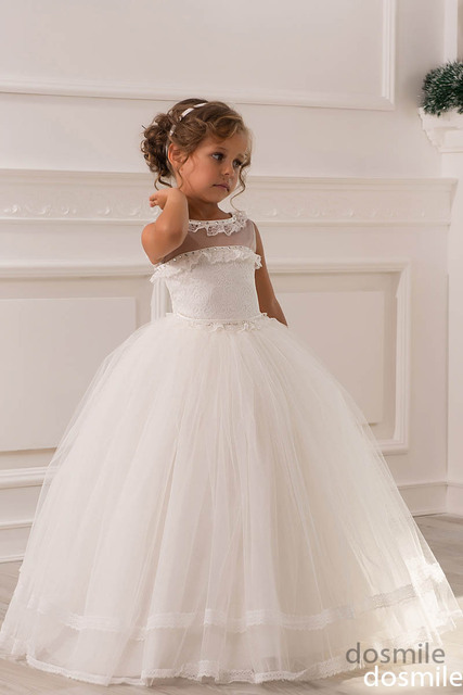 2018 White Sheer Lace Crystals French Alencon Lace Ball Gown Flower Girl  Dress For Wedding Party the holy first communion gown 56e71093809f
